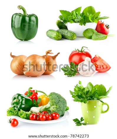 set fresh vegetable with green leaf isolated on white background - stock photo