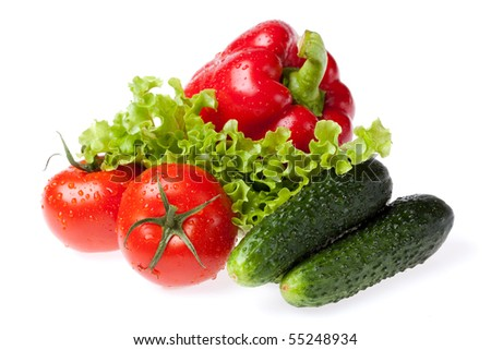 set fresh vegetables for salad