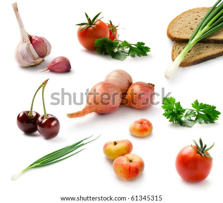 Set fresh vegetables isolated on white - stock photo