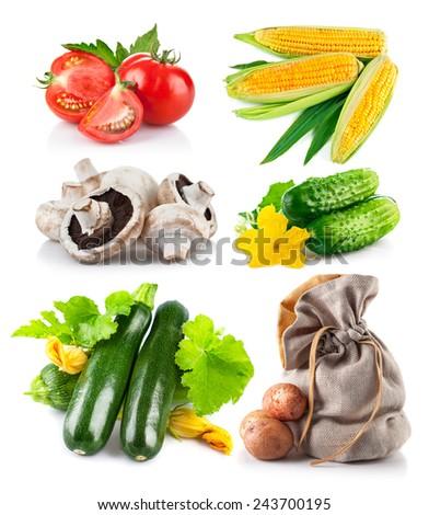 Set fresh vegetables. Isolated on white background - stock photo