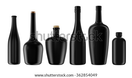 Set from alcohol, tincture, balsam, whiskey, cognac, brandy, wine, beer, oil, water, black bottles isolated on white background. 3D Mock up for you design. - stock photo