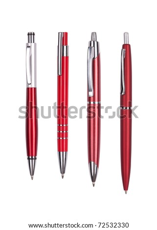 Set from four red pens isolated on white background - stock photo