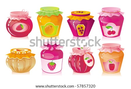 Set from jars with fruit and berry jam - stock photo