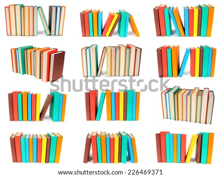 Set from piles of books. On a white background. - stock photo