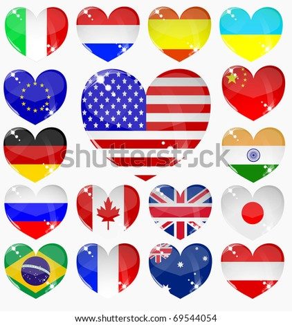 set from the hearts of flags - stock photo
