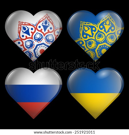set from the hearts of flags of ukraine and russia  - stock photo