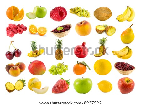 set from thirty various fruits and berries isolated on white