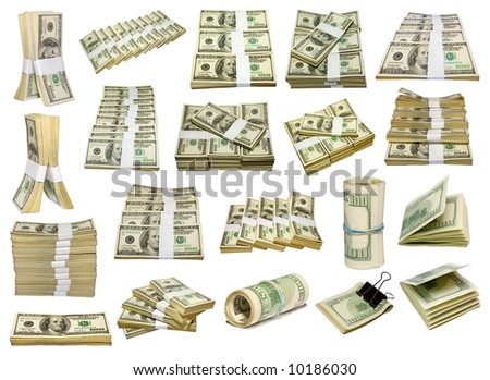set from US dollars bundle isolated on white