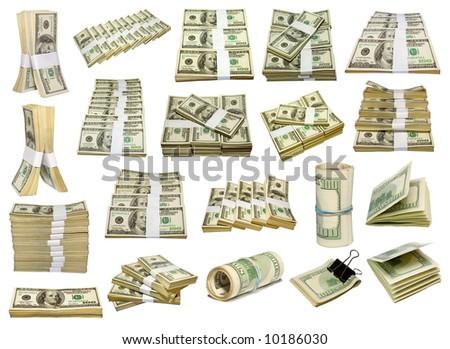 set from US dollars bundle isolated on white - stock photo