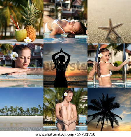 Set from vacation photos with woman and tropical place - stock photo