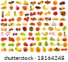 set from 96 various fruits, vegetables and berries - stock photo