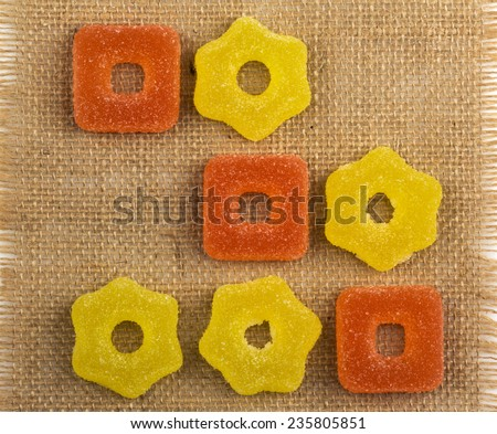 set fruit jelly candies with different flavors - stock photo
