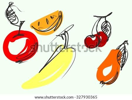 set Fruit, set, elements,   apple, vitamins, meal,  dessert,  menu, kitchen, garden,  fruit,  crop, vegetarianism,  diet,  banana, bananas,  ,  cherry,  card, drawing,   illustration,  icon,   - stock photo