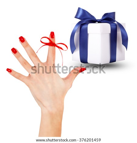 Set gift box with ribbon and remember hand with red ribbon on white background - stock photo