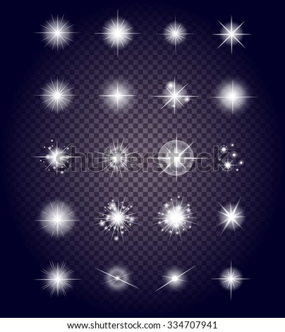 Set glows bright star light fireworks. Flash and glow, sparkle illuminated, flare effect, shine explosion, glitter and twinkle, spark magic, decoration starburst, shiny illustration. Raster version - stock photo