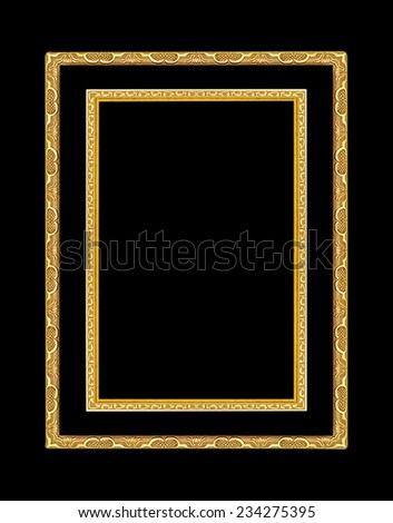 Set gold picture frames. Isolated on black background - stock photo