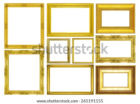 Set golden frame isolated on white background - stock photo
