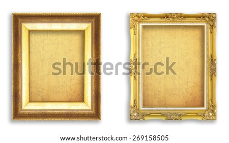 Set golden frame with empty grunge paper for your picture, photo, image. beautiful vintage background - stock photo