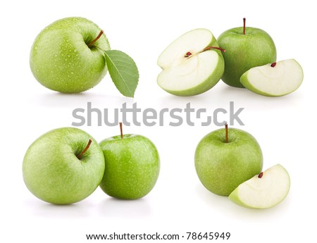 Set green apple fruits isolated on white - stock photo