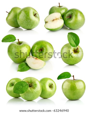 set green apple fruits with leaf isolated on white background - stock photo
