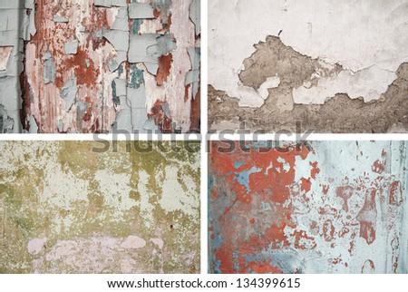 Set grunge texture plaster - stock photo