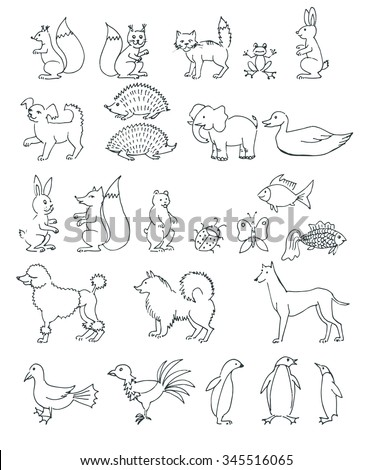 set hand drawn animals