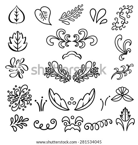 Set hand drawn black lines leaves, waves isolated on a white background. Floral icons.Tattoo. Art logo design - stock photo