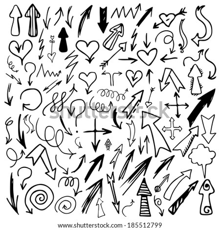 Set hand drawn doodle arrows black silhouettes isolated - raster version - stock photo