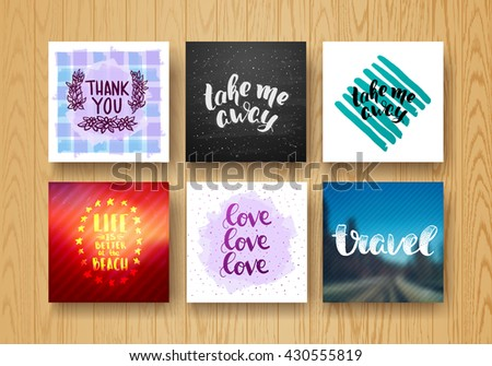 set hand lettering poster set. Templates thank you, love, take me away, Life is better at the beach, travel. Trendy handwritten illustration creative graphic poster for your design - stock photo