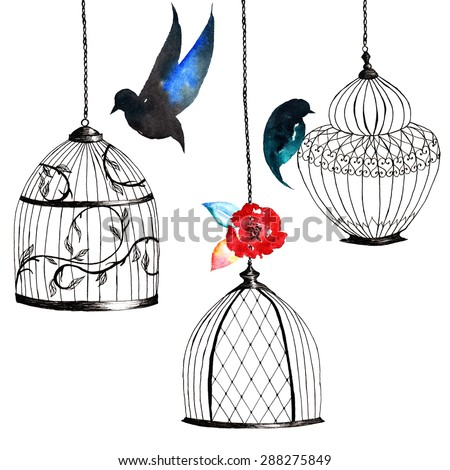 set hand-painted birdcages , birds , leaves, watercolor dark coloring - stock photo