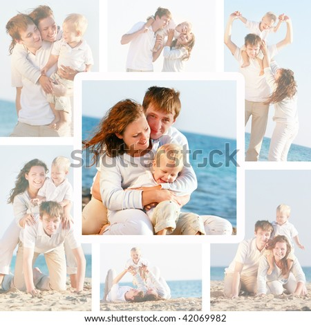 set happy family on beach photos - stock photo