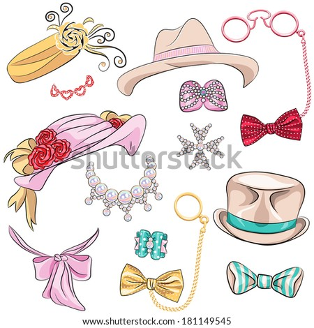 set hipster millinery, scarves, bows, jewelry, glasses