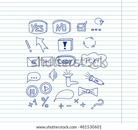 Set icons buttons on copybook background. Vector illustration. Hand drawn.