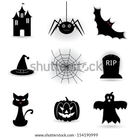 set icons for Halloween.(rasterized version) - stock photo
