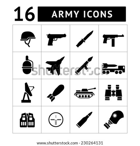 Set icons of army and military isolated on white - stock photo