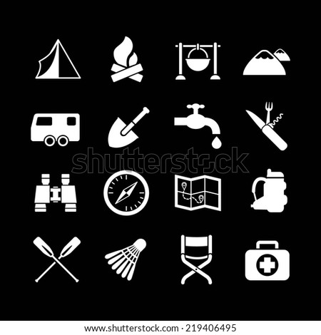 Set icons of camping isolated on black