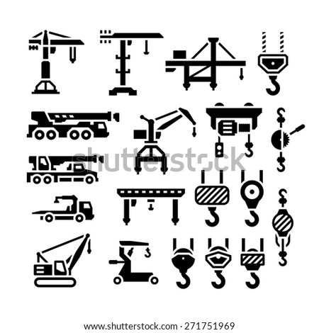 Set icons of crane, lifts, winches and hooks isolated on white