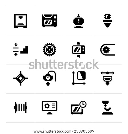 Set icons of 3D printing isolated on white - stock photo