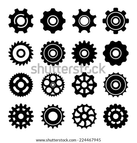 Set icons of gears isolated on white