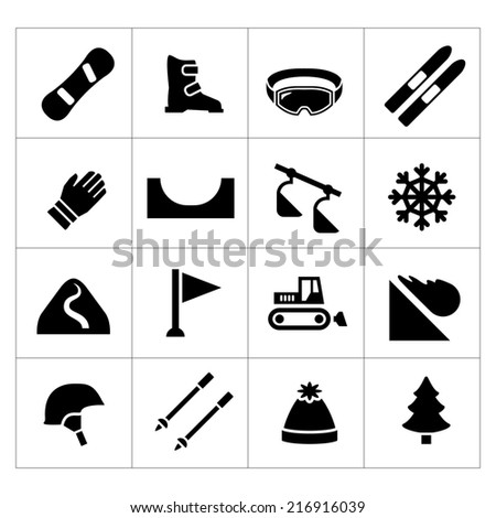 Set icons of skiing and snowboarding isolated on white - stock photo