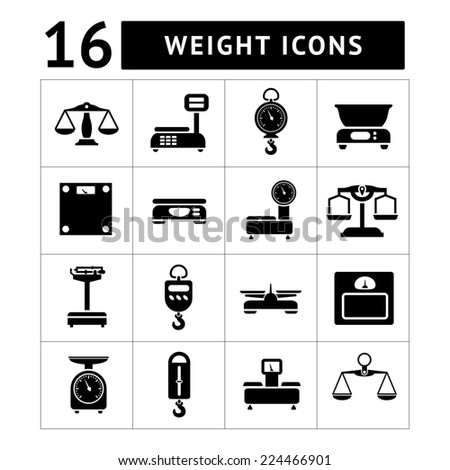 Set icons of weights and scales isolated on white - stock photo