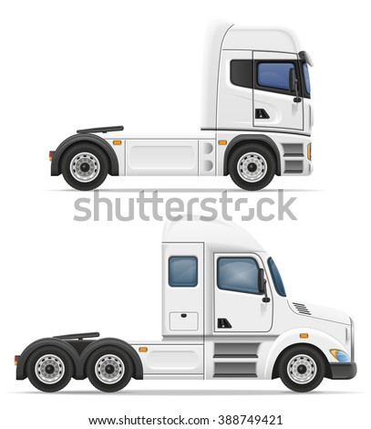 set icons trucks semi trailer illustration isolated on white background