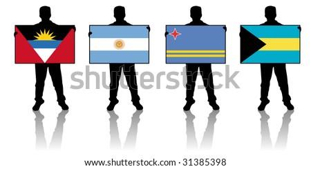 set 1 -  illustration of a man holding a flag - stock photo