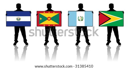 set 5 -  illustration of a man holding a flag - stock photo