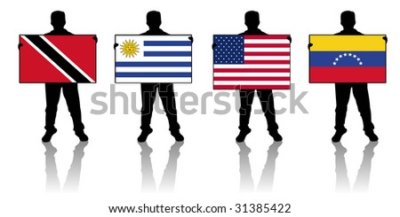 set 9 -  illustration of a man holding a flag - stock photo