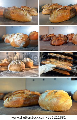 set image loaf of bread is baked in the oven - stock photo