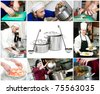 set images of cooking chefs and close up kitchen processes - stock photo