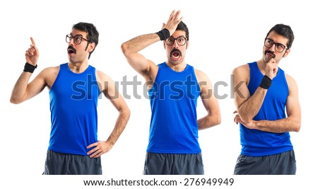 Set images of crazy sportman doing surprise gesture  - stock photo