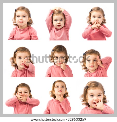 Set images of cute blonde baby - stock photo