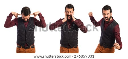 Set images of frustrated man wearing waistcoat - stock photo